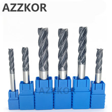 Milling Cutter Alloy Coating Tungsten Steel Tool 100L/150L Hrc50 Lengthening Face Mill Endmills Top CNC AZZKOR Milling Cutter
