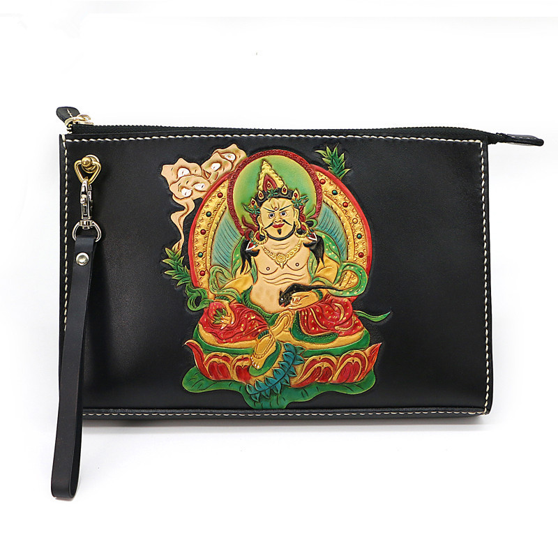 Hand-made Men Vegetable Tanned Leather Bag Money Holder Clutch Purse The god of Wealth Clutches Envelope Boyfriend GiftsHand-made Men Vegetable Tanned Leather Bag Money Holder Clutch Purse The god of Wealth Clutches Envelope Boyfriend Gifts