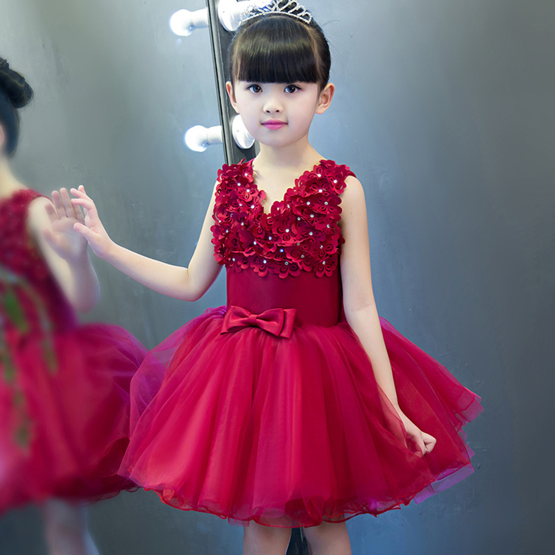 Flower Girl Dresses Sleeveless V-neck Kids Dresses for Girls Ball Gown Appliques Girls Dress Pageant for Wedding Birthday Party