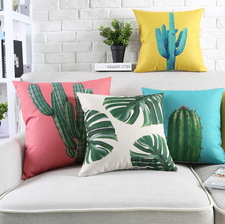 Free Shipping!Plant leaf cactus square throw pillow/almofadas case 45 53 60 30x50 adult teenage child,cushion cover home decore