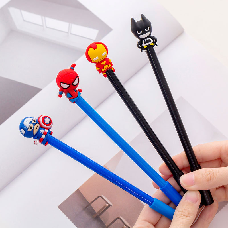 32 Pcs Creative Student Earth Hero Cartoon Neutral Pen 0.5mm Blackwater Student Neutral Pen School  Stationery Wholesale