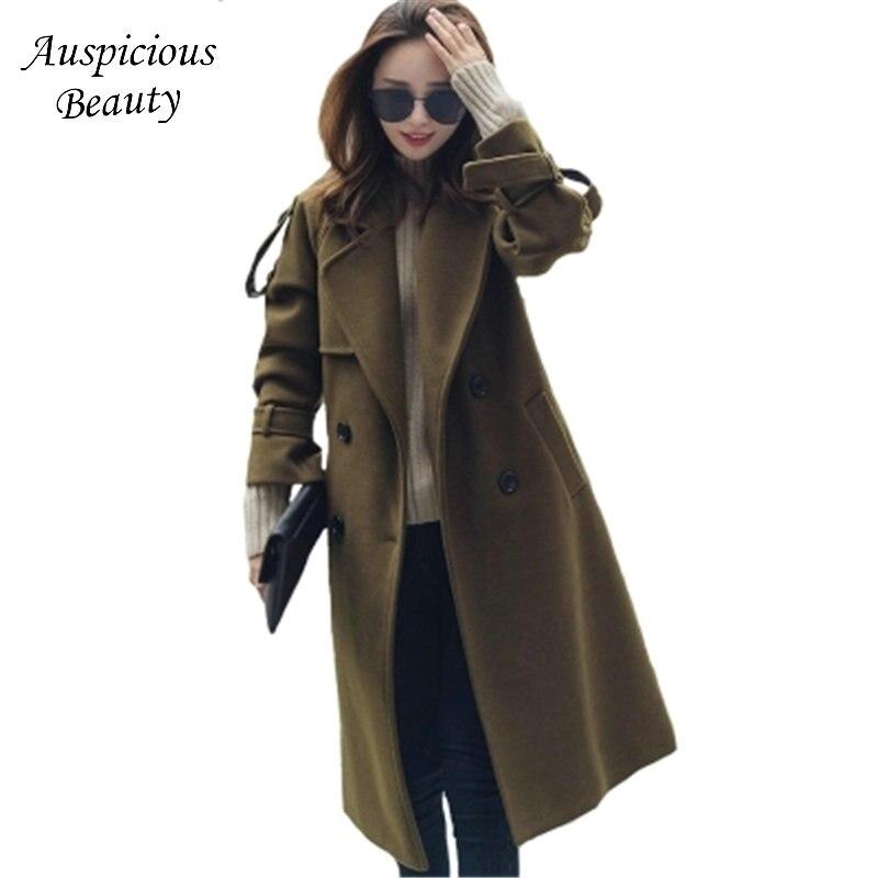 2017 New Women's Fashion Woolen Jacket Winter Wool Coat Woolen Jacket Women Autumn Wool Coat Plus Size Wool Blend Overcoat QJW75 plus size wool blend lapel coat