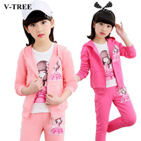 2018 Autumn Girls Clohing Set 3pcs/set Girls Clothes Sets 10 12 Years Kids Tracksuits Teen School Sports Suits