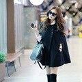 Осень новый 2016 женщины плащ Корейский свободные шерстяные пальто без воротника мыса плащ шерстяные ветровка абригос mujer CT148