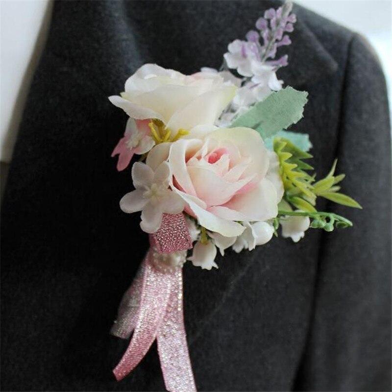Artificial Wedding Flower Best Man Boutonnieres Groom