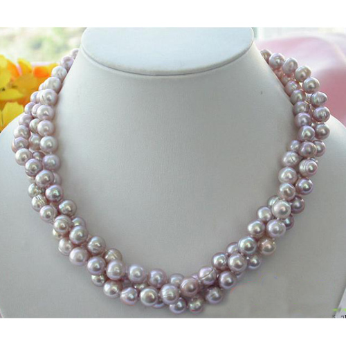 купить Freshwater Pearl Necklace,3 Rows 17inches 9-10mm Lavender Round Cultured Pearl Jewellery,New Free Shipping онлайн