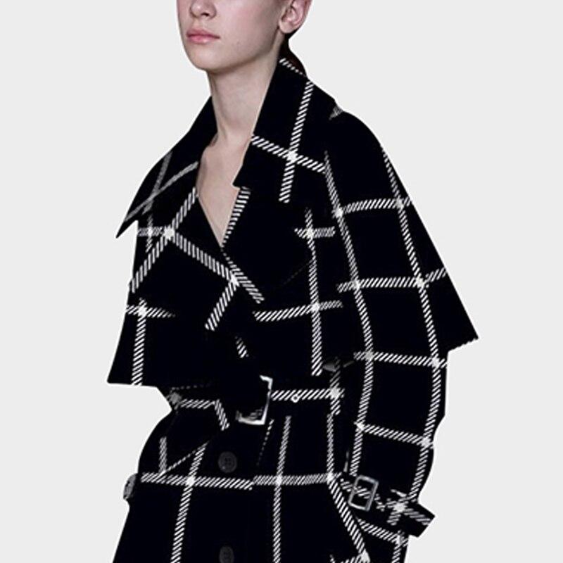 Femme Manteau Style Taille Plus Tranchée Longue La Vêtements Coupe Pardessus Femmes Black vent 2018 Élégant Automne Vintage A429 Européen Mince Pour Wp6wgq4aw