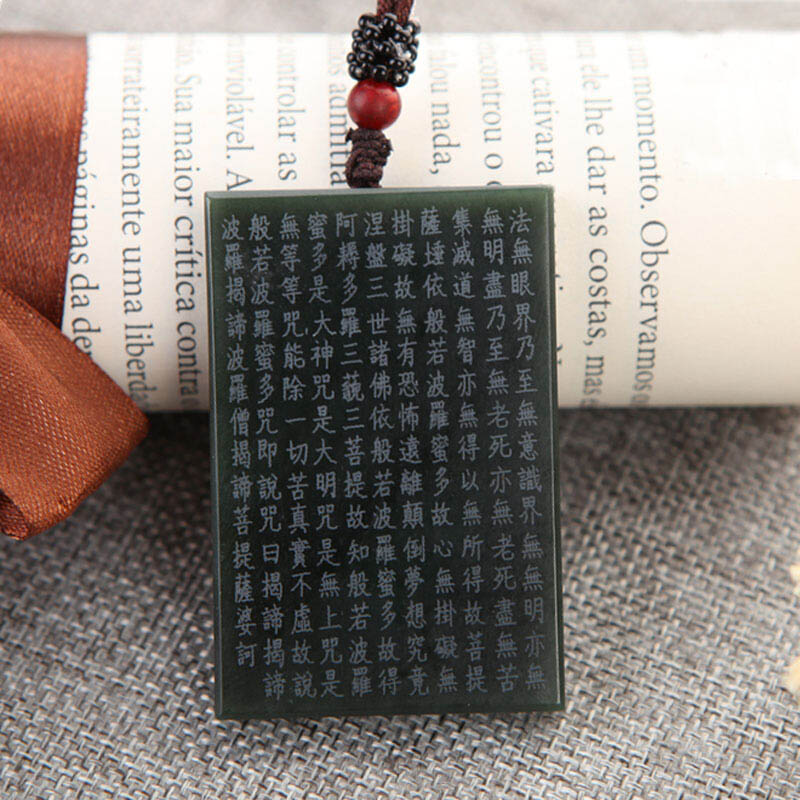 Image 3 - Drop Shipping XinJiang HeTian Jade Pendant Necklace Jade Buddhist Scriptures Lucky Amulet Necklace With Chain For Men Women GiftPendants   -