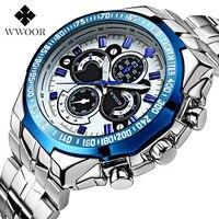 Top de Luxo WWOOR Relógios Luminosos dos homens Esportes Cinta Relogio Masculino Relógios de Quartzo Relógio De Prata de Aço Inoxidável Relógio À Prova D' Água