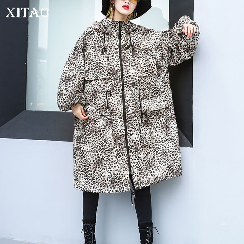 [XITAO] Spring Summer New Arrival 2019 Women Casual Loose Fashion Hooded Wide-waisted Leopard Patchwork Pocket   Trench   ZLL3387