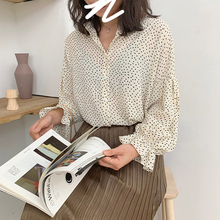 Spring and summer new style Floral chiffon shirt Korean wave long sleeve