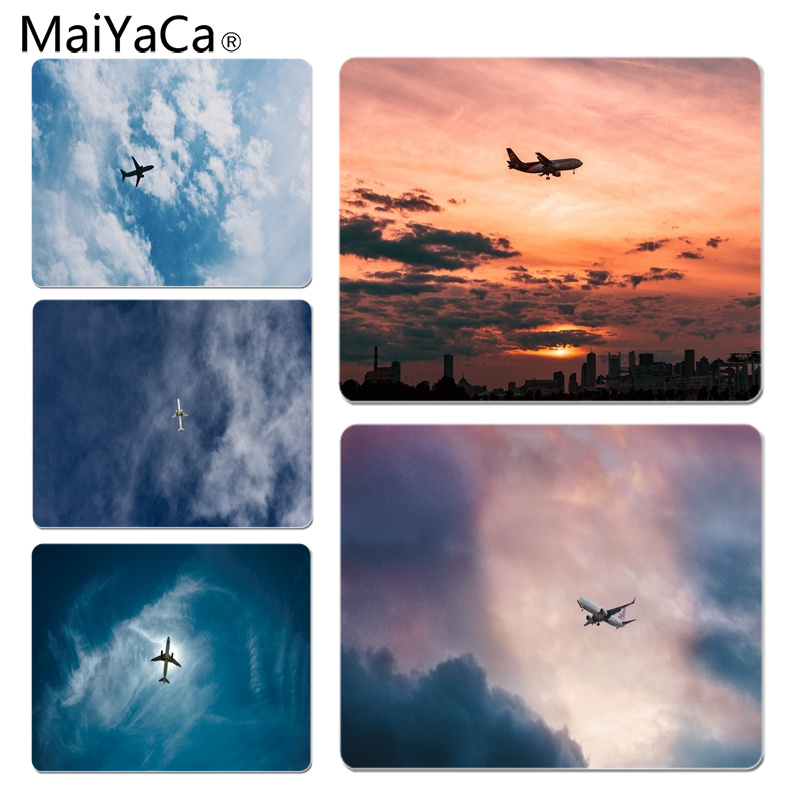 MaiYaCa Vintage Cool Flight Airplane In Sky Silicone Pad to Mouse Game Size for 18x22cm 25x29cm Rubber Mousemats