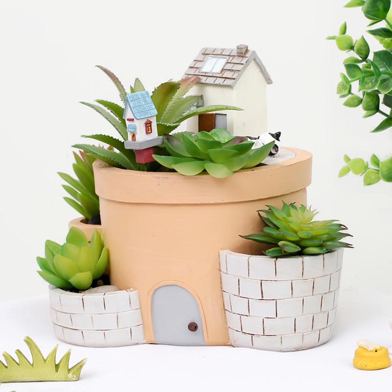 Résine heureux maison pots cactus plante succulente pot planteur de fleur mini jardinchina