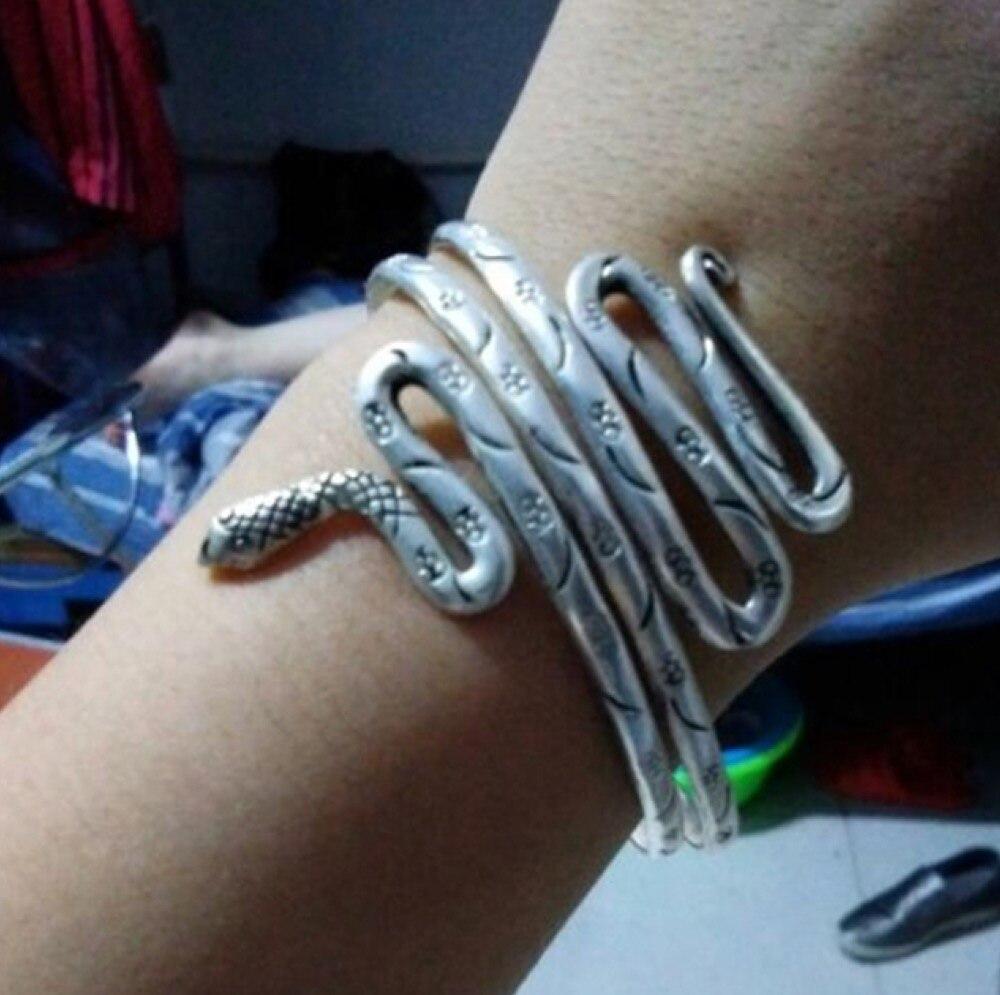 Miao silver snake winding wide bracelet fashion personality armbands original Bohemia handmade jewelry