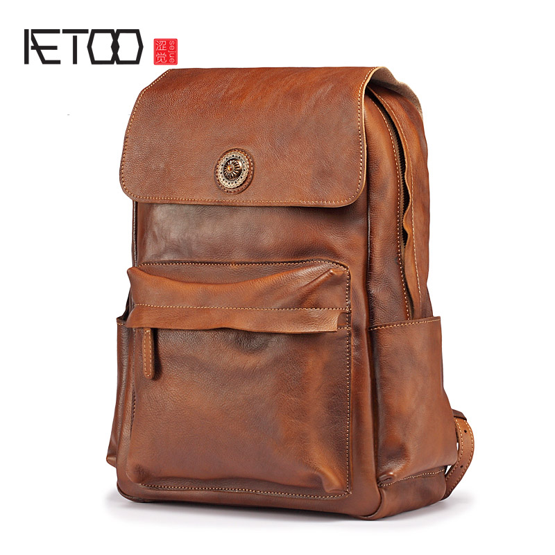 AETOO New mens leather shoulder bag, retro male large capacity business bag, business trip casual fashion cowhide backpackAETOO New mens leather shoulder bag, retro male large capacity business bag, business trip casual fashion cowhide backpack