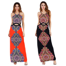 Club Dresses 2017 New Empire Sheath Red Boho Maxi Dress Halter Hollow Out Bohemian Tunika Beach Femina Night Dresses for Party