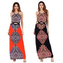 Club Dresses 2017 New Empire Sheath Red Boho Maxi Dress Halter Hollow Out Bohemian Tunika Beach Femina Night Dresses for Party