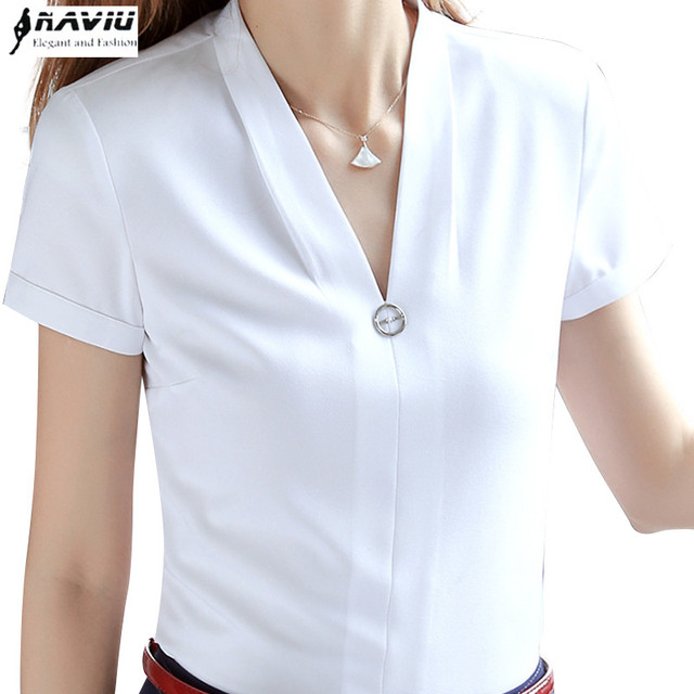 e6497a9094746 Fashion women V Neck shirt office short sleeve slim white chiffon blouse  ladies formal summer plus size work clothes tops