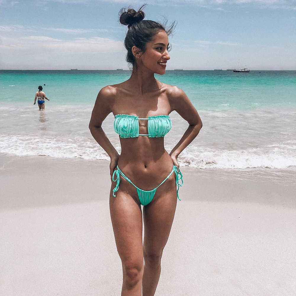 ZTVitality Green Pink Women Bikinis 2019 Hot Sale Sexy Strapless Bandage Bikini Low Waist Fold Swimwear Female Swimsuit Biquini