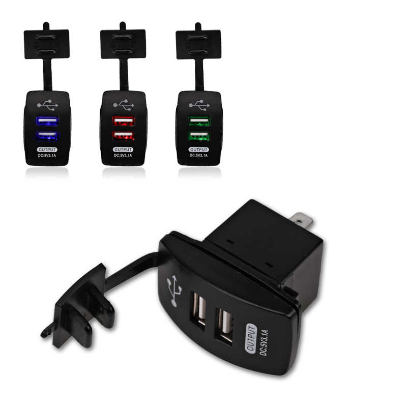 12-24V Dual USB Car Charger Rocker Switch 5V 3.1A Universal Auto Charger for Car Motorcycle Electric Car ATV Boat