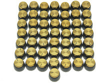 цена на KAISH 50x Guitar AMP Amplifier Knobs Black w/ Gold Cap Push on Knob fits Marshall AMP