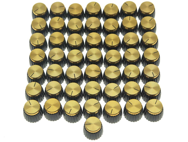 50x Guitare AMP Amplificateur Boutons Noir w/Or Cap Push sur Bouton adapte Marshall AMP