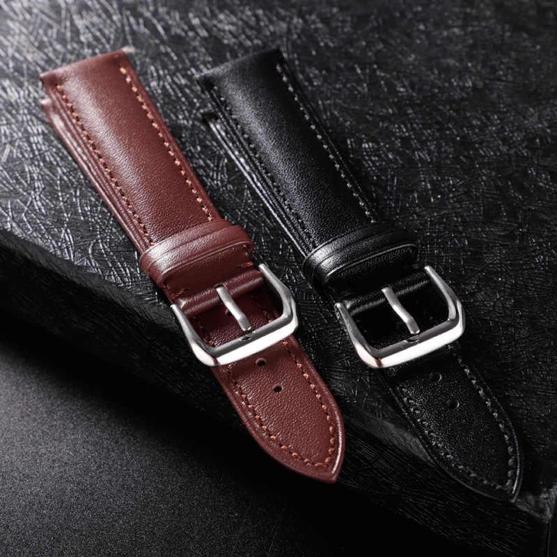 REMZEIM skórzany pasek Watchband 16/18/20/22/24 MM ze stali nierdzewnej klamra mężczyźni kobiety wymień zespół zegarek akcesoria