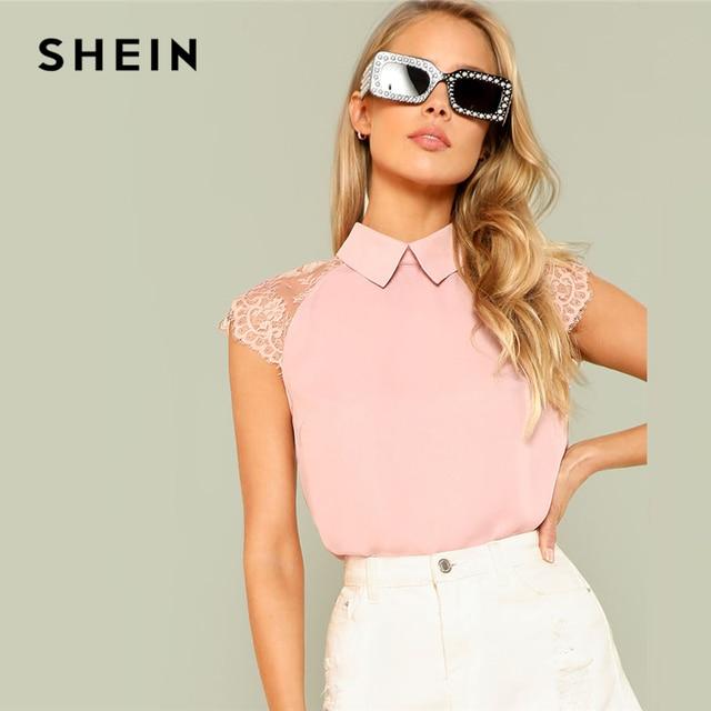 76738b22c716c7 SHEIN Pink Floral Lace Cap Sleeve Blouse Women Peter Pan Collar Short Sleeve  Button Plain Top 2018 Summer Elegant Blouse