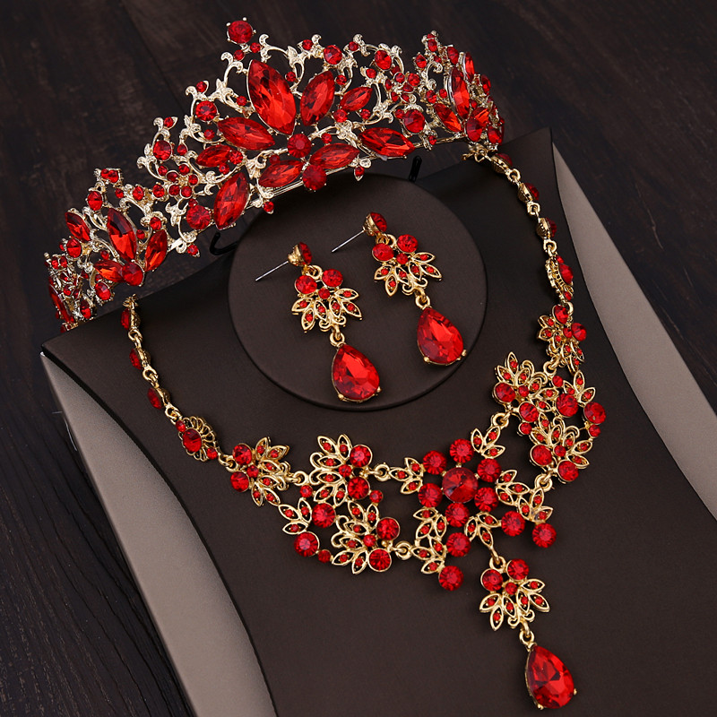 Baroque Gold Color Bridal Jewelry Sets Rhinestone Crown Necklace Earrings For Women Vintage Red Crystal Wedding Hair AccessoriesBaroque Gold Color Bridal Jewelry Sets Rhinestone Crown Necklace Earrings For Women Vintage Red Crystal Wedding Hair Accessories