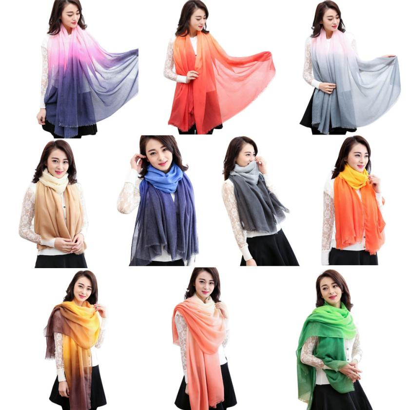 Fashion Lady Gradient Color Long   Wrap   Women's Shawl Paris Yarn   Scarf     Scarves   High Quality Comfortable Soft   Scarves   Shawl Tippet