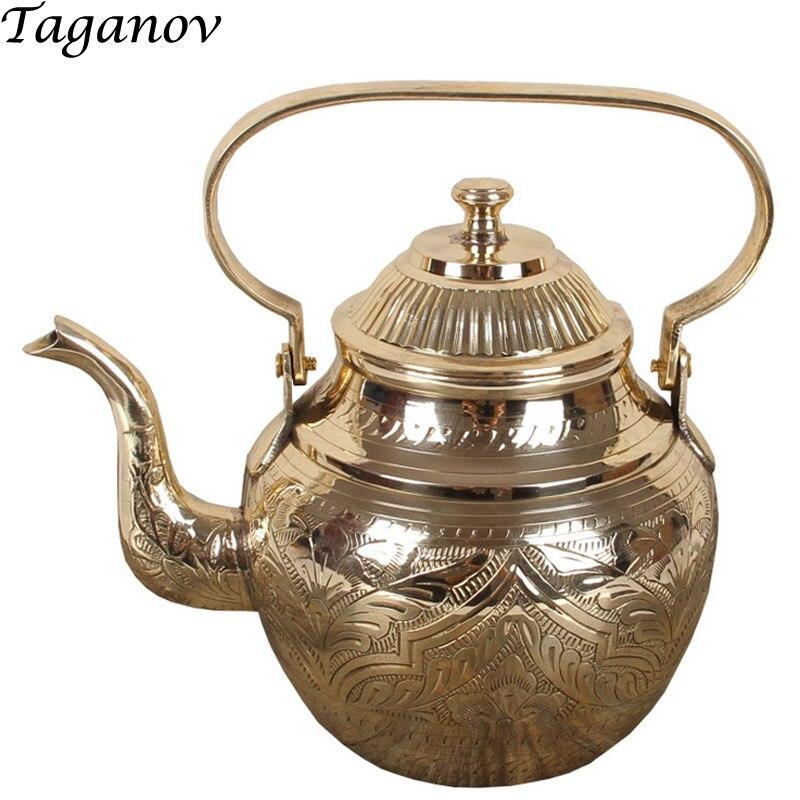 اليدوية النحاس النقي إبريق المياه غلاية 750 مللي 950 مللي 1300 مللي الياسمين الشاي الأخضر الخام بوير لونغ جينغ الشاي بو erh tieguanyin الشاي وعاء-في اباريق الشاي من المنزل والحديقة على  مجموعة 1