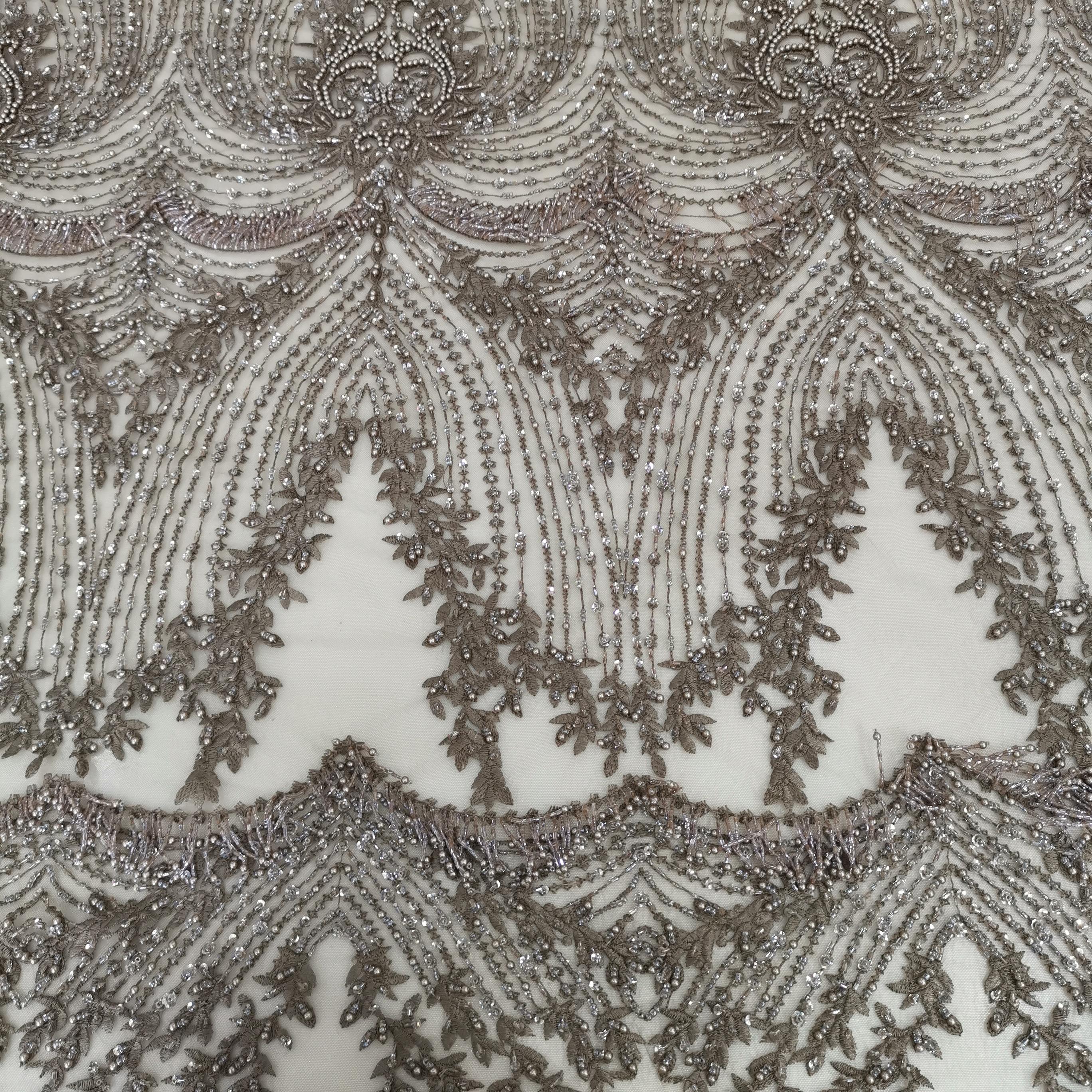 Prix de gros usine 5 yards kaki africain à la main perlé dentelle tissu 2019 nouvelle mode brodé, dentelle de haute qualité