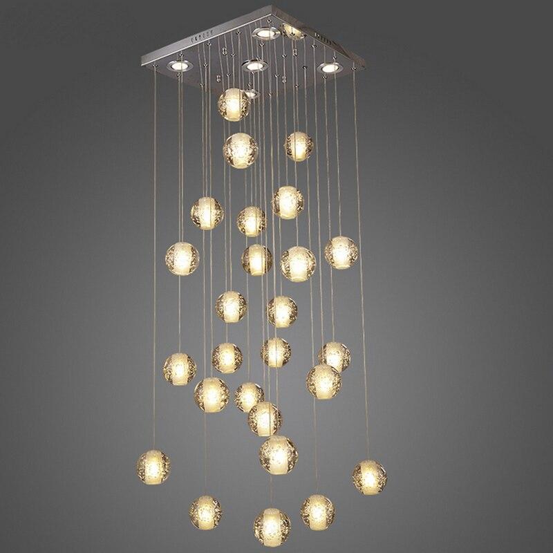 Современный краткое Кристалл Magic Ball LED Хрустальный подвесной светильник звездопад лестниц свет для Обеденная 26 огни бесплатная доставка