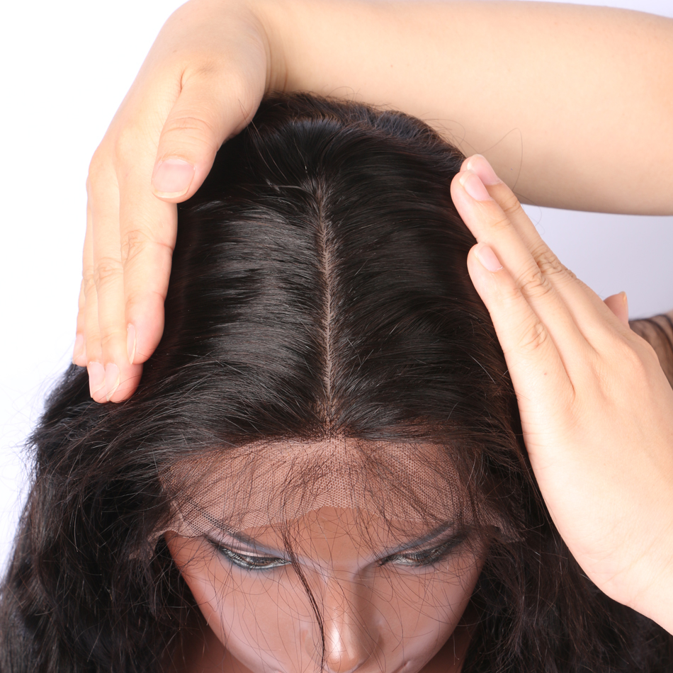 Luffy Pre Plucked 5 * 4.5 ίντσα Glueless βάση μετάξι - Ανθρώπινα μαλλιά (για μαύρο) - Φωτογραφία 4