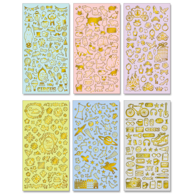 New Kawaii Scrapbooking Stickers Circus Fantasy Deco Gold plan stickers/1sheet per set/sticky note/Decoration label/stationery