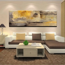 100% handpainted oil on Canvas Painting Modern Abstract Golden Yellow Posters Wall Art Pictures For Living Room Home Decor