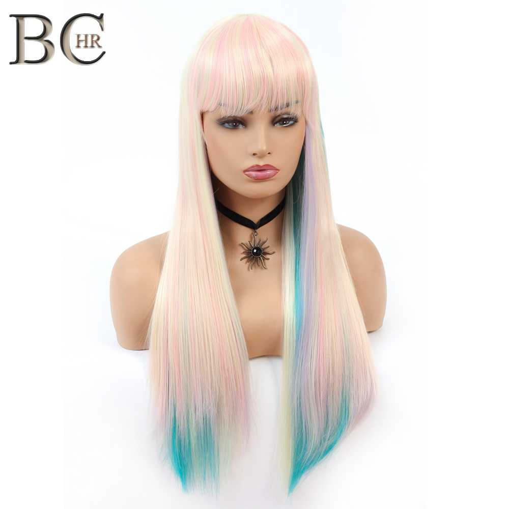 BCHR Long Straight Synthetic Wig with Side Bang Rainbow Wig Highlights Blonde Cosplay wig for Fairy princess