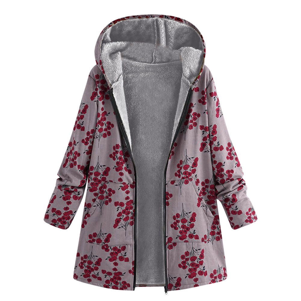 Abrigos Con Gran Bolsillos De rojo Abrigo Cálido Invierno Mujer Floral  blanco Estampado Bohemio Outwear Vintage Capucha Tamaño ... 8c5350ac3549