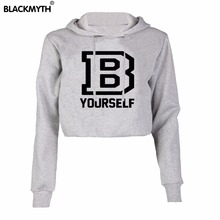 Fashion B YOURSELF Letters Printed O-neck Casual Black White Pullover Women's Hoodie Crop Top D Sweatshirt