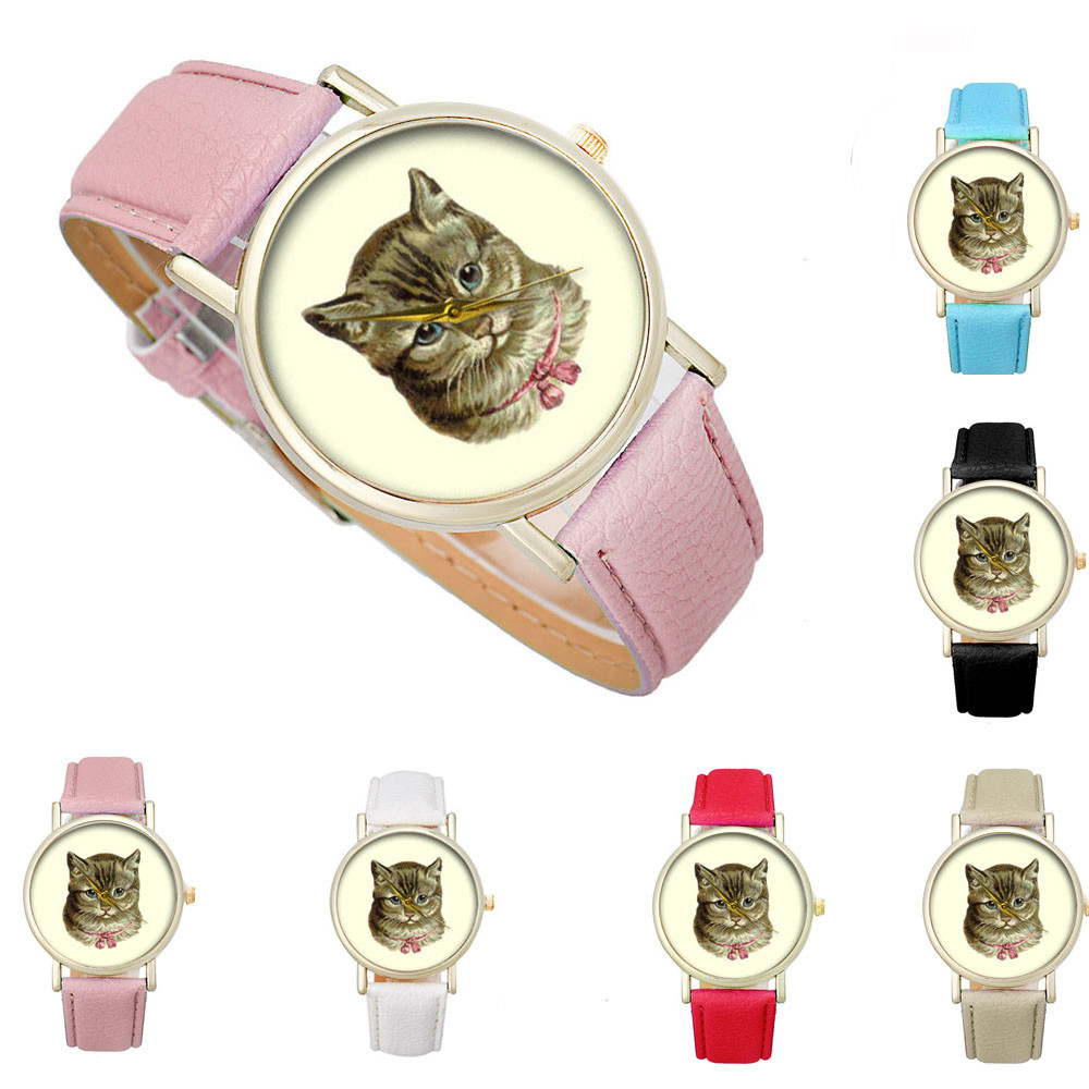 2018 New Fashion Women Retro Digital Dial Watch Women Fashion Relogio Cat Pattern Leather Band Analog Quartz Vogue Wrist Watch