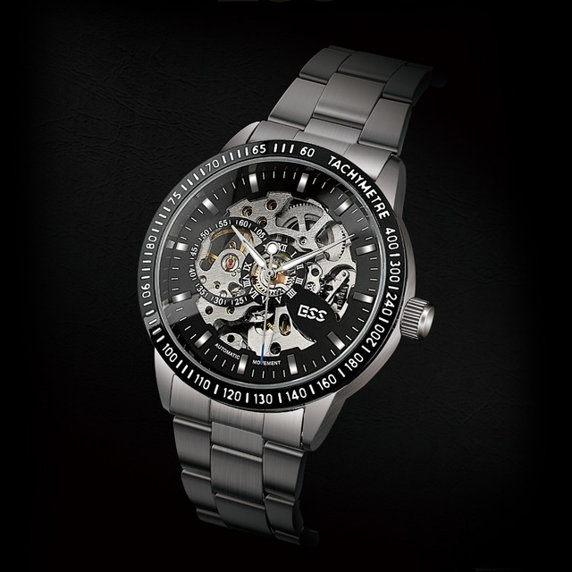 ESS Gents Men's Black Bezel Skeleton Dial Silver Stainless Steel Automatic Mechanical Watch WM400-ESS