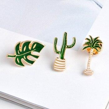 QIHE JEWELRY Cactus Palm Leaves Plant Tree Natural Lapel Pin Enamel Brooch Collar Pins 1