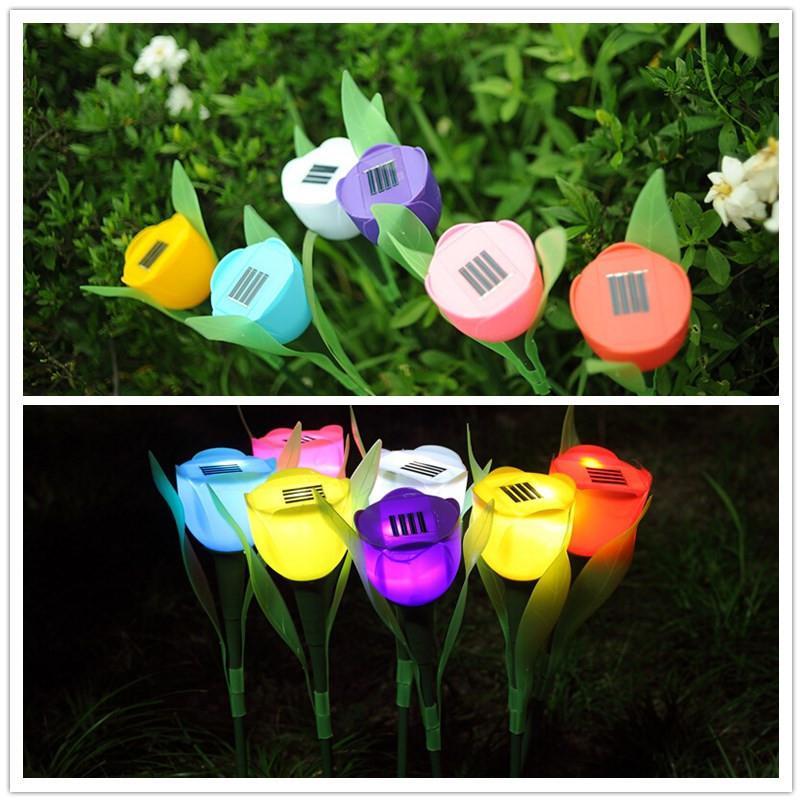 LumiParty Solar Turpentine Light Waterproof Solar-powered LED Tulip Lawn Pin Lamp Landscape Light Festival Yard Garden Deco