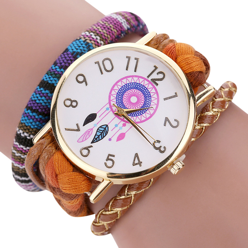 Excellent Quality New Vintage Women Watch Native Handmade Quartz Watches Knitted Dreamcatcher Friendship Watch Relojes Mujer #03