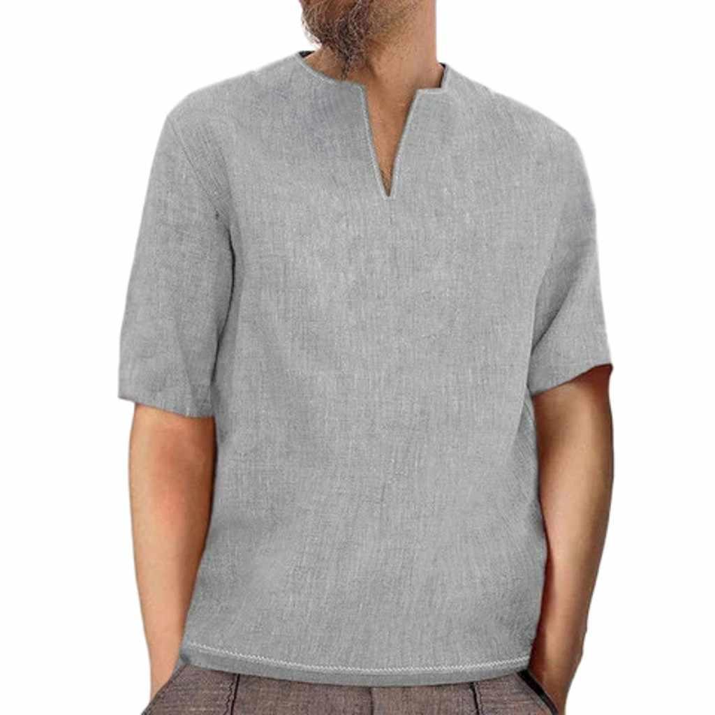 男性のシャツ ropa camiseta 夏カジュアルバギーレトロなコットンリネン固体半袖 V ネックトップス原宿シャツ