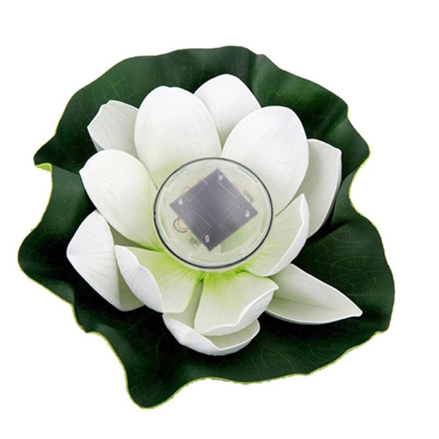 Lotus Flower Shape Solar Power Light Water Floating Outdoor