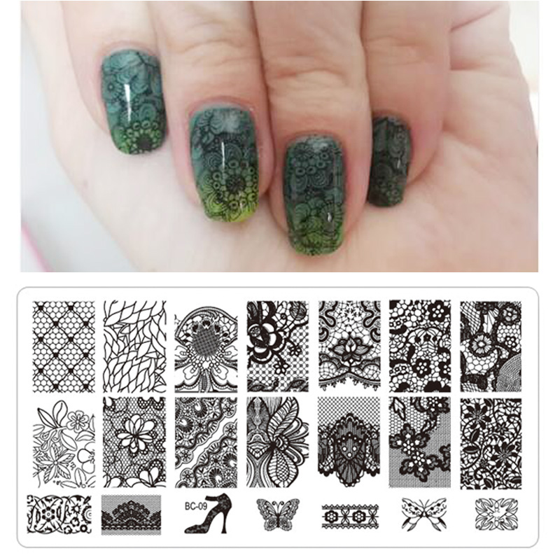 1pcs New Black Flower Lace 6*12cm Nail Stamping Plates Nail Art Manicure Template Nail Stamp Tools