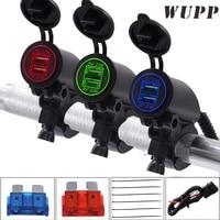WUPP Dc 12 V/24 V Dual 4.2A Motorrad Usb-buchse Ladegerät Blau grün Rot LCD Display Usb-ladegerät Mit 50 Watt Stromleitung Sicherung innen
