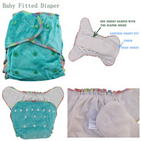 One Size Fit All Bamboo Cotton Fitted Diaper AIO Hemp Diaper Fit Babies From 5 15kgs