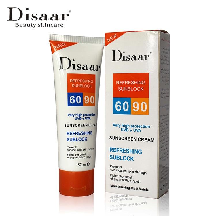 Disaar Sunscreen Cream Spf 90 ++ Moisturizing Skin Protect Sunblock 80g Face Care Prevents Skin Damage, Remove Pigmention Spots
